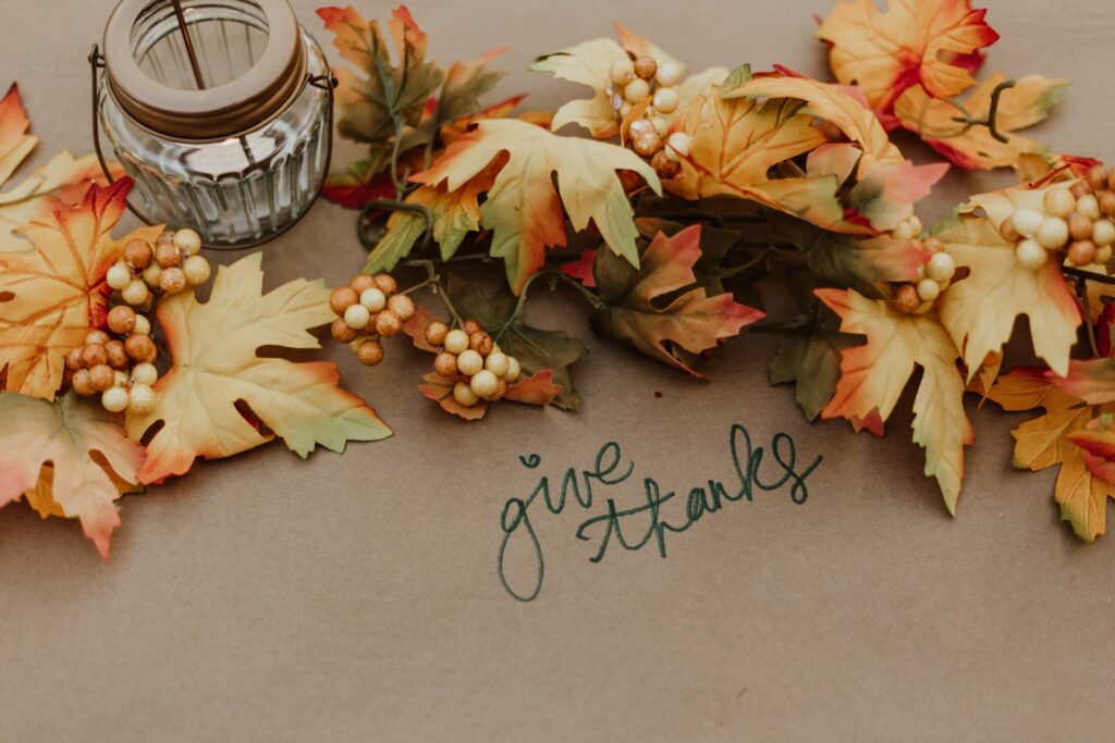 Photograph of Thanksgiving table centerpiece